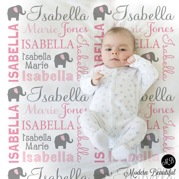 Elephant name blanket in pink and gray for baby girl personalized il570xn negle Gallery