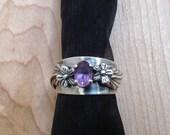 Vintage 1992 Carol Felley New Mexico Sterling Silver Flower Blossom Cigar Band Amethyst Ring Size 7