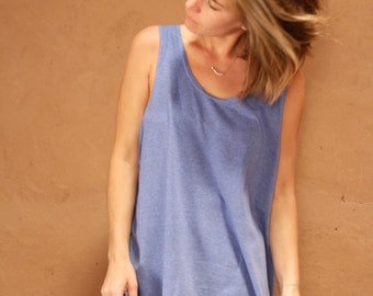 vintage SCOOP neck oversize LARGE thin soft BLUE huge tank top slouchy athletic wear sportswear