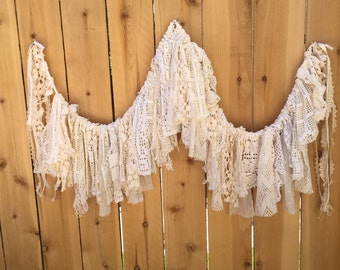 Doily Garland, White and Ivory, Shabby Vintage Country Chic, Shabby, Cottage, Boho Chic, Romantic, Vintage Inspired