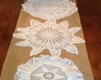 Burlap Table Runner With Vintage Dolily Pattern, Wedding, Shower, Party, Home Decor, Vintage, Cottage Chic, Country, One of a Kind