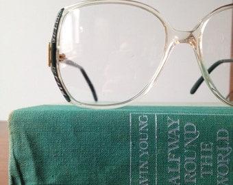 Vintage Green and Silver Oversized Eyeglass Frames, Valdottica 56/15, 135