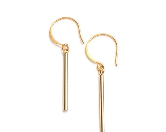 Gold Short Bar Earrings, Bar Earrings Gold Plated, Small Bar Gold Earrings