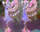 Purple & Pink Sparkly Crystal Hand-Painted Guardian Angel Earrings, Fantasy Archangel Jewelry, Spiritual Sparkly Crystal Earrings!