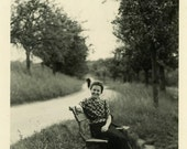 "Vintage Photo ""Where She Watches Birds and Squirrels"" Snapshot Antique Photo Black & White Photograph Found Paper Ephemera Vernacular - 193"
