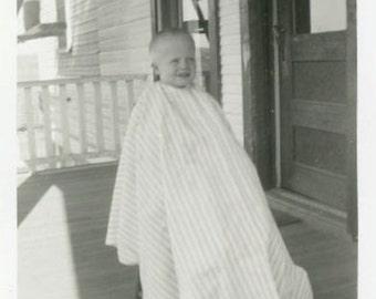 "Vintage Photo ""His First Haircut"" Children Boy Shaved Head Snapshot Old Photo Black & White Photograph Found Paper Ephemera Vernacular - 111"