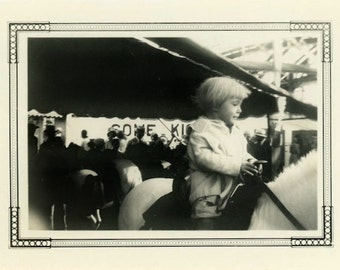 "Vintage Photo ""Her First Pony Ride"" Riding Horse Snapshot Old Antique Black & White Photograph Found Photo Paper Ephemera Vernacular - 86"
