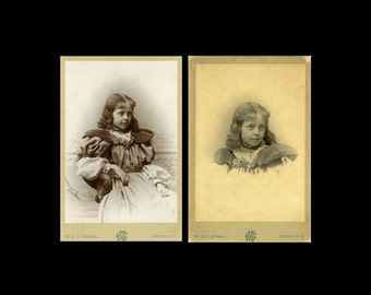"2pc - Antique Cabinet Card Photo ""The Concord Princess"" 1800s Vintage Photograph Paper Ephemera Collectible Photo Visiting Card Cabinet Card"