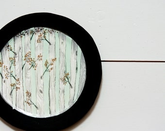 woodland wall art, wall hanging plate, unique forest wall art,  decorative, woodland, forest art. round wall hanging by karoArt ceramics