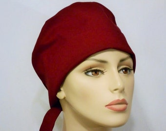 Scrub Hats Pick a Color Pixie Style Medical Style Pixie Tie Back Scrub Cap Chemo Cap