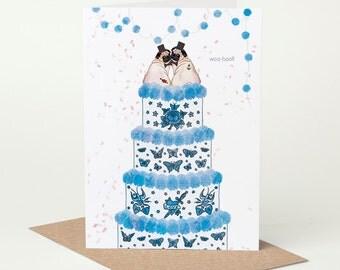 Pug Wedding Card, Pug Civil Ceremony Card, Mr & Mr // gay wedding card, tattoo wedding card, tying the knot, congratulations, blue, confetti