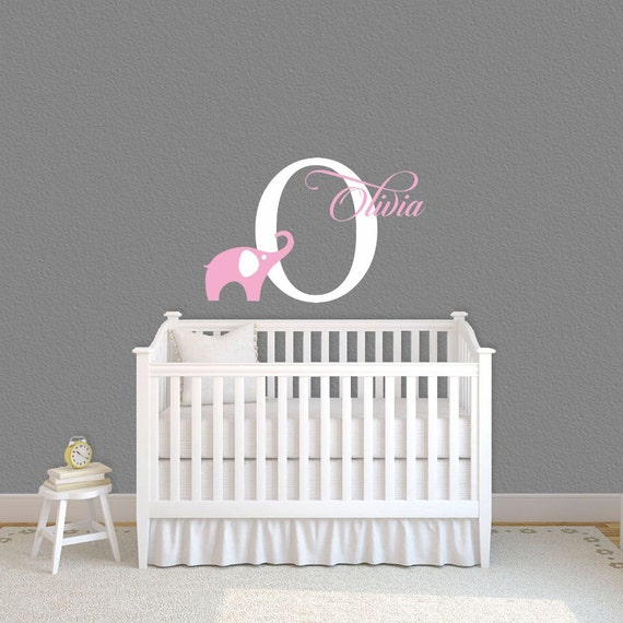 Elephant  Wall Decals Personalized Name Wall Decal Custom