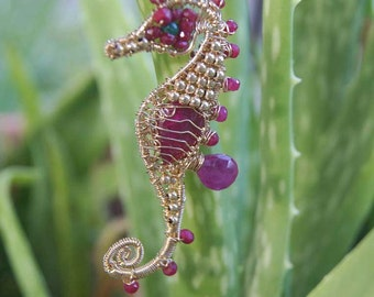 Genuine Ruby Seahorse Handmade Wire Wrapped on 14K Gold Filled wire Precious stone Pendant Birthstone Jewelry