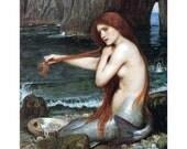 Mermaid Greeting Card | Sits on Shore Combs Hair | Repro JW Waterhouse Note Card