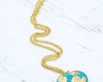 Turquoise Heart Necklace with Gold Chain, Beach Necklace