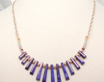 Purple Howlite and Swarovski Crystal Necklace
