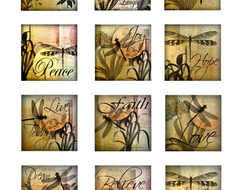 Dragonfly Inspirational Instant Download Resin Glass Coasters 2 and 4 Inch Digital Images Square 4 Pages JPEG (16-3)