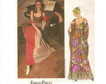 1970s Vogue Couturier Design Emilio Pucci Boho Maxi Dress Pattern Low Neckline Sleeveless Bust 34 Size 12 Vogue 2603 Vintage Sewing Pattern