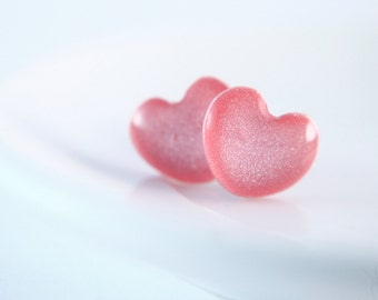 Heart Earrings - Valentines day - Pink Earrings - Resin stud earrings - hypoallergenic (Surgical Steel)