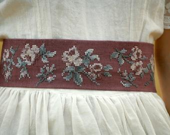Dark purple linen cross stitched roses obi,sash belt hand embroidered belt