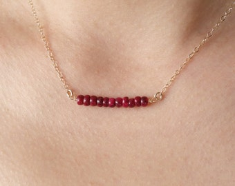Ruby Bar Necklace Layering Gold Filled Necklaces Gemstone Bar Necklace Hand Wrapped Gift Gold Red Layer Necklace Color Summer