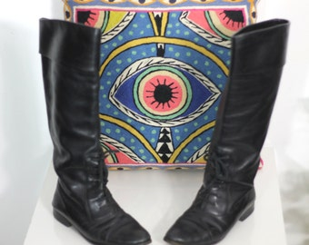 Vintage Black Riding Boots Size 8 Made in Italy Tall Lace Up Detail Boots