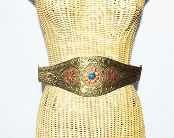 Vintage Leather and Brass BOHO Belt , Embossed Brass Belt
