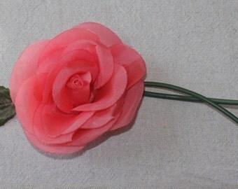 Vintage Millinery Rose Coral Pink Camelia - Pin Back -OS