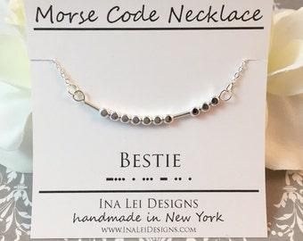 BESTIE Best Friend Morse Code Necklace, Friendship Necklace, Best Friend Necklace, Gift Best Friend, Bestie Gift, BFF Necklace
