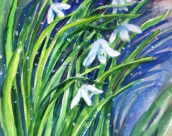 "SALE  ""Snowdrops in Snow""  - Original Watercolor Art, Painting gift, Flower painting, white blooms"