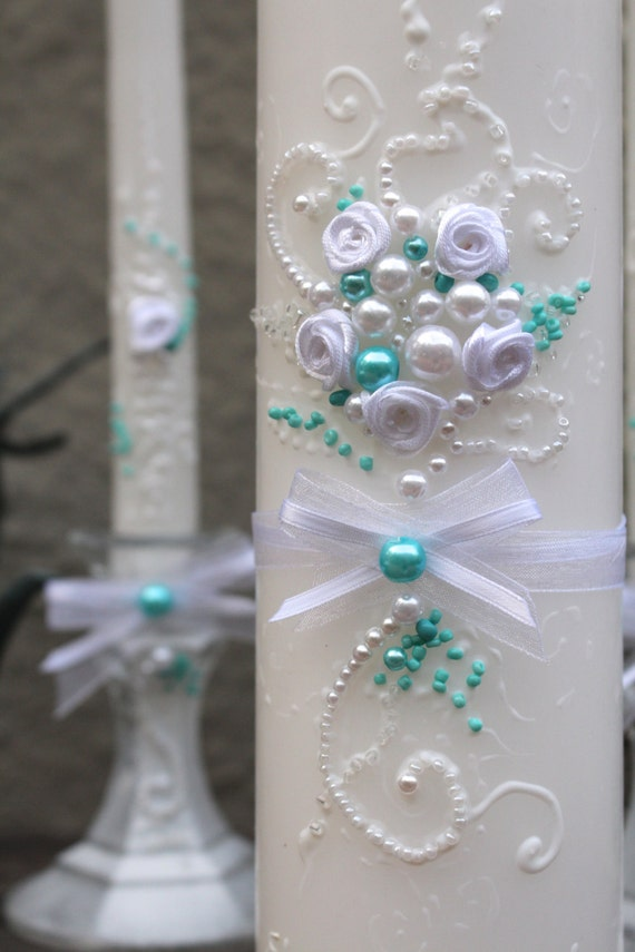 Wedding unity candle set, hand decorated with ribbon roses & bows and pearls in white and turquoise blue