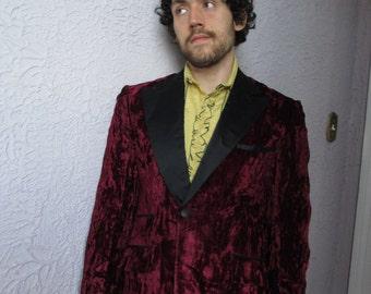 70's Vintage Men's Crushed Velvet Jacket Tux Jacket 39 L