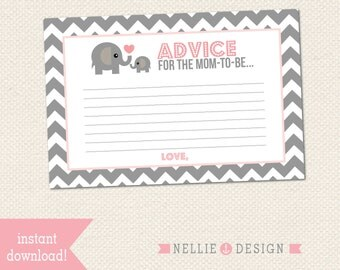 4x6 ADVICE CARDS - Elephant Theme Baby Shower - Instant Download