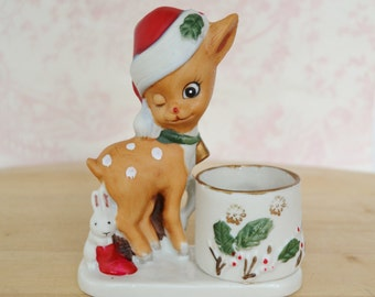 Vintage 1978 Reindeer and Bunny Holiday Candle Holder by Jasco