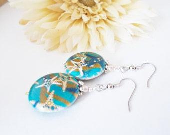 Starfish Earrings, Ocean Blue Earrings, Gift for Friend, Boho Earrings Sterling Silver Earrings, Inspirational Earring Handmade Gift for Her