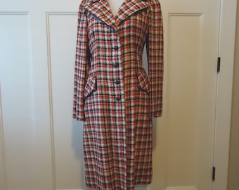 Vintage coat, Retro coat, Vintage jacket, French vintage, trench coat, rain coat, 1960 Red White Blue coat