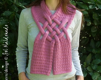 Cowl Scarf knit pattern pdf - weave braided scarf knitting pattern - Instant Download