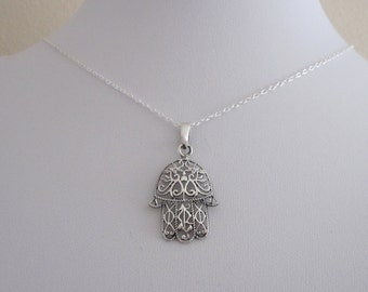 Filigree FATIMA/HAMSA HAND sterling silver pendant with necklace chain, Protection and luck symbol