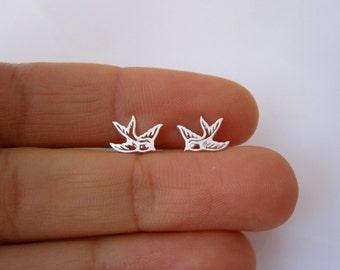 Cutout SWALLOW BIRD sterling silver stud earrings