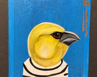 Yellow Grosbeak portrait on a playing cards. Original acrylic painting. 2012