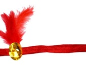 Flapper Headband Red Gold Jewel Roaring 20's Gatsby Showgirl Feather Fascinator