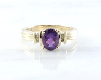 Vintage 10k Yellow Gold Oval Amethyst & Diamond Enagement ring