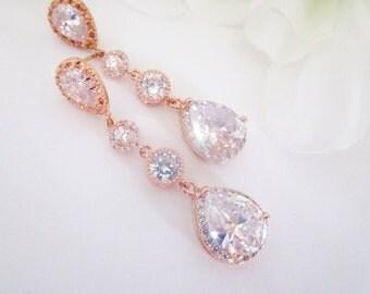Bridal Rose Gold Earrings, Cubic Zirconia Wedding Earrings, Rose Gold Bridal, Wedding Earrings, Teardrop Earrings, Cubic Zirconia Bridal