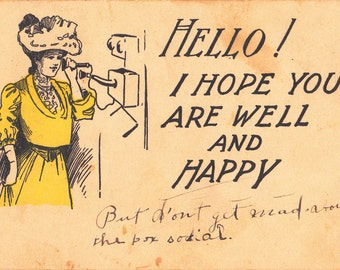 Hello!- 1900s Antique Postcard- Hope You Are Well- Edwardian Telephone Call- Art Comic- Wooden Crank Phone- Paper Ephemera- Used