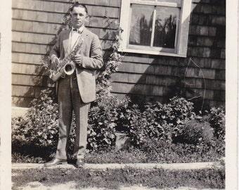Jazz Saxophone- 1920s Antique Photograph- Musician Snapshot- Found Photo- Jazz Instrument- Roaring 20s- Vernacular- Paper Ephemera