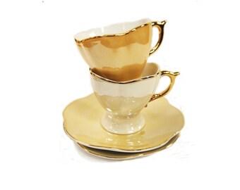 Vintage Demitasse Coffee Set by Genevieve Lethu pattern Patience in Original Packaging