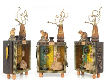 "assemblage art, mixed media, 12"" tall,mouse, chipmunk, raven, rulers, found object, shadowbox, one of a kind, folk art, original artwork"