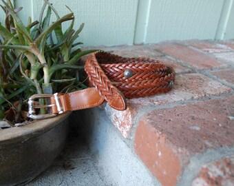 Vintage Medium Belt Leather Brown Woven Braided Belt High Waisted Boho Hippie Native Aztec Bohemian Gypsy Spring Summer Fashion Southwestern