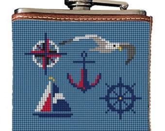 Nautical Needlepoint Flask Canvas