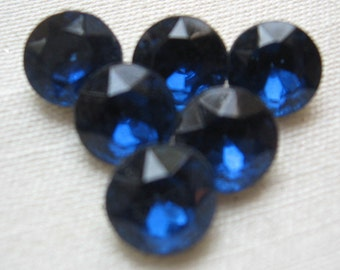 Vintage Sapphire Chatons Rhinestones West Germany ss40 8.4-8.67mm QTY - 6